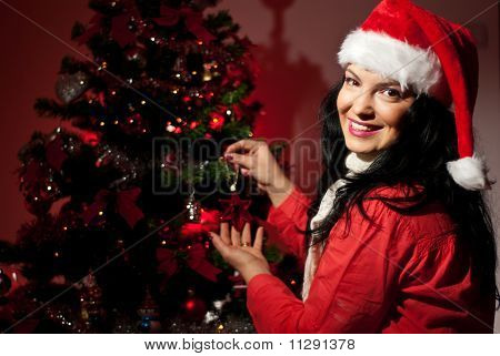 Happy Woman With Christmas Tree