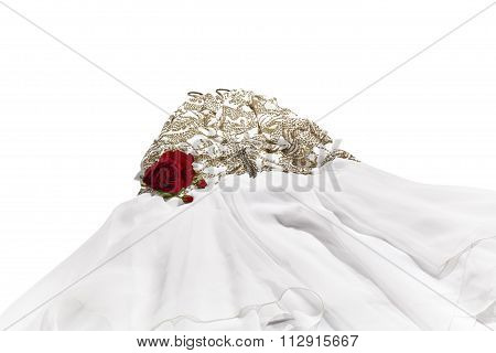 Woman's Evening Dress with a Red Rose