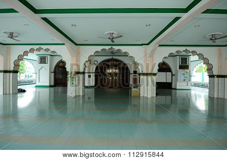 Interior of the India Muslim Mosque in Ipoh, Malaysia