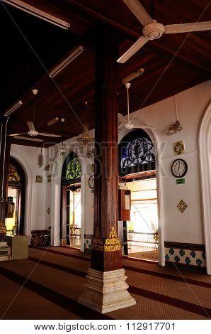 Interior of Tranquerah Mosque or Masjid Tengkera in Malacca, Malaysia