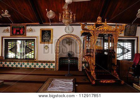 Interior of Tranquerah Mosque or Masjid Tengkera