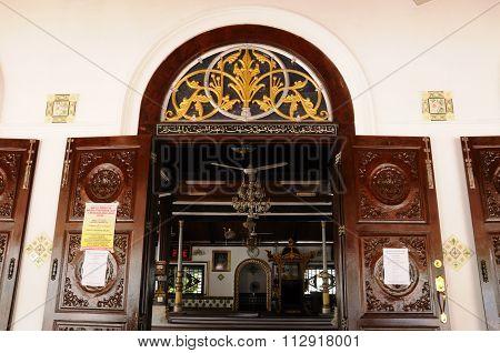Architectural detail at Tranquerah Mosque or Masjid Tengkera in Malacca, Malaysia