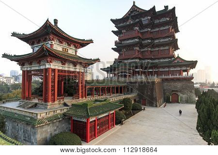 Nanchang, China - December 30, 2015: Tengwang Pavilion In Nanchang At Sunset, One Of The Four Famous
