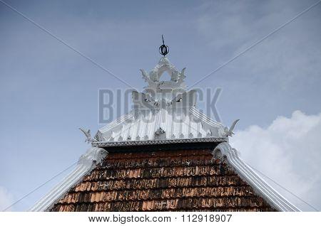 Roof of Tranquerah Mosque or Masjid Tengkera in Malacca, Malaysia