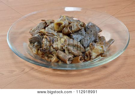fried pork entrails with garlic
