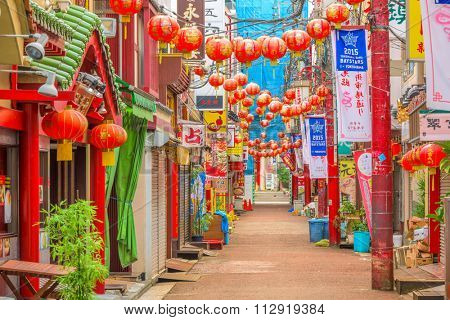 YOKOHAMA, JAPAN - AUGUST 11, 2015: Yokohama's Chinatown district. It is the largest Chinatown in Japan.
