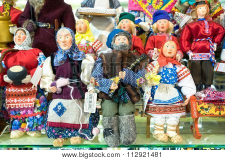 Moscow, Russia - December 11, 2015: Moscow Souvenirs, Traditional Handmade Rag Toys Puppets Dolls In
