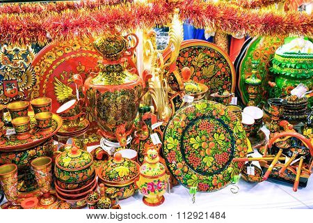 Moscow, Russia - December 11, 2015: Moscow Souvenirs, Traditional Handmade Hohloma Dishes In Central
