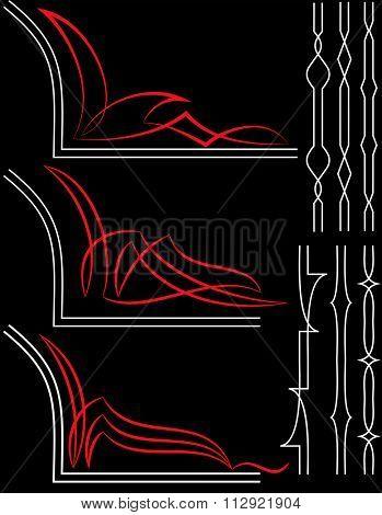 Pinstripe Graphics, Corner : Vinyl Ready Raster Illustration