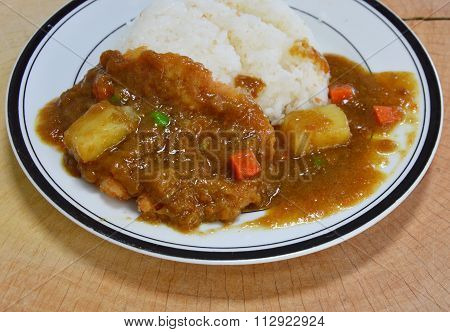 Tonkatsu pork fried dressing Japanese curry on rice in dish