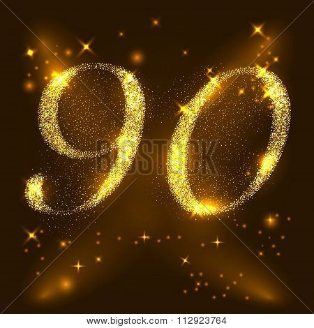 Alphabets Number 9 (nine) and 0 (zero) of gold glittering stars. Illustration vector