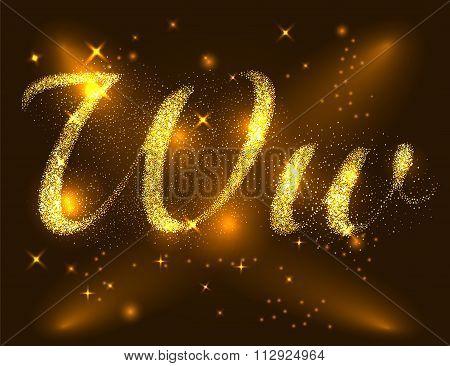 Alphabets W of gold glittering stars. Illustration vector