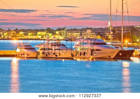 Luxury Yachts At Zadar Harbor Evening View