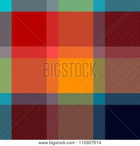 Colorful checkered tartan fabric seamless pattern, vector