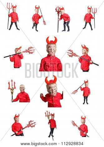 Set Of Little Devil With Trident.