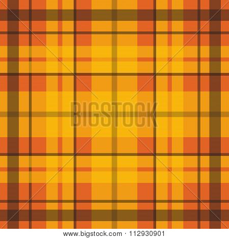 Vector seamless scottish tartan pattern in orange black red yellow. British or irish celtic design f