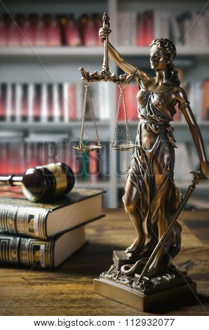 Themis And Gavel In Court Library