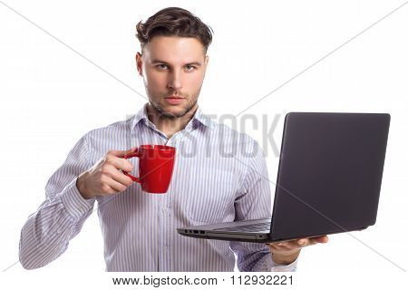 Handsome Businessman Holding Red Cup And Laptop