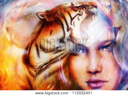 painting mighty tiger and lion head on ornamental background and mystic woman face, computer collage