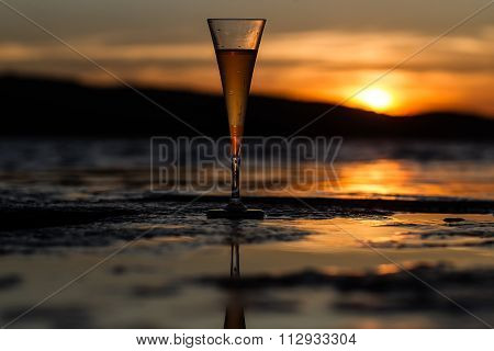 Champagne Flute Glass Against Sunset