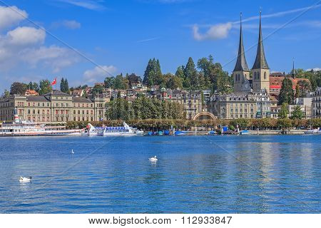 View On The City Of Lucerne Over The Lake Lucerne