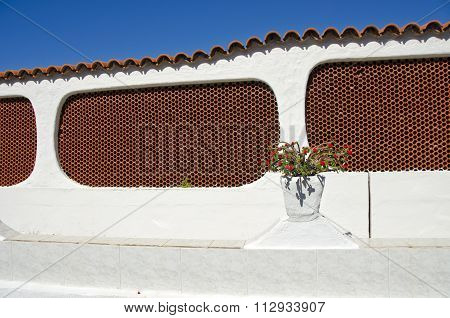 Spanish Architecture With Decorative Flower Pot
