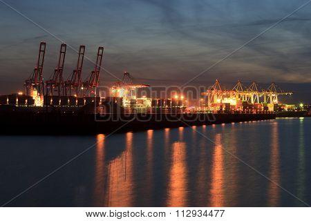Container terminal Tollerort in Hamburg at night