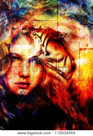 painting mighty tiger head on ornamental background and mystic woman face, computer collage.  wall s