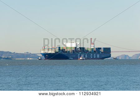 San Francisco, CA - December 31, 2015: The newest container ship the Benjamin Franklin, world 10th largest container ship and the largest to visit the US arriving in San Francisco, December 31, 2015.
