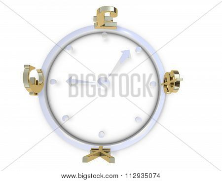 Currency Exchange Market Concept Illustration White Background.