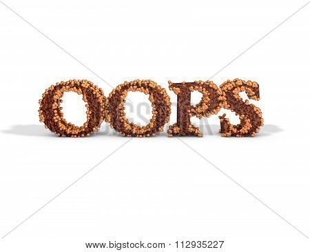 Oops Rusted 3D Text Message. Template Illustration For 404 Web Page With Error Message.