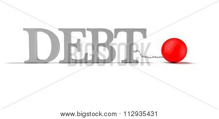 Debt Concept With 3D Text And Heavy Ball On Chain.