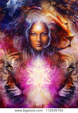 painting mighty lion and tiger head on ornamental background and mystic woman face, computer collage