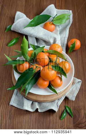 Mandarin With Leaves