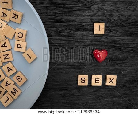 Wooden Letters Spelling I Sex