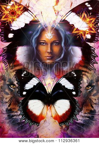 painting mighty tiger head on ornamental background and mystic woman face with white light star on f
