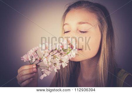 Girl Sniff Cherry Blossoms, Grain Effect