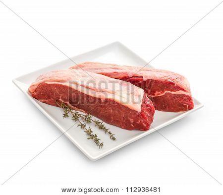Fresh Rump Steaks With Thymine Twig