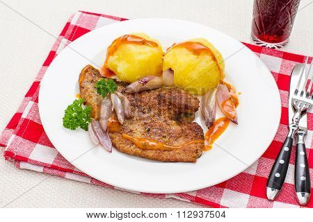 Roast Veal Liver, Wine, Potato Dumplings