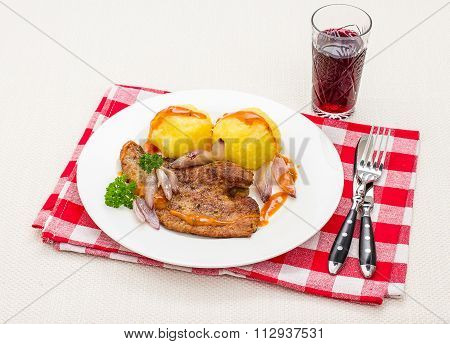 Roast Calf's Liver With Shallots, Wine