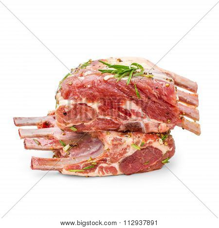 Two Marinated Rack Of Lamb In Olive Oil