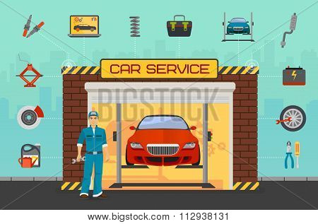 Car repair service center concept with tuning diagnostics flat elements and worker man.