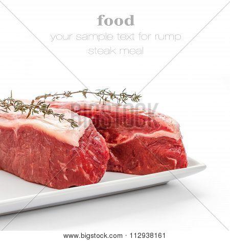 Fresh Rump Steaks With Thymine Twig Isolated