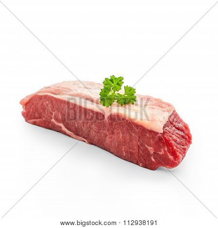 Raw Rump Steak With Parsley Twig Isolated