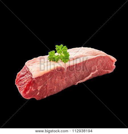 Raw Rump Steak With Parsley Twig