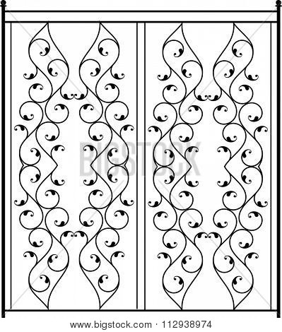 Wrought Iron Gate, Door, Fence, Window, Grill, Railing Design Raster Illustration