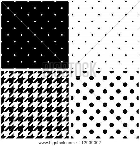 Black and white vector pattern or tile background set with big and small polka dots and houndstooth