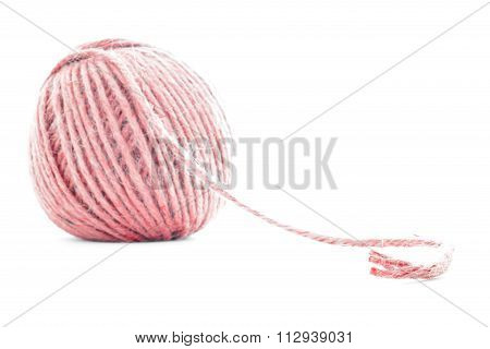 Red fiber clew, crochet yarn ball isolated on white background