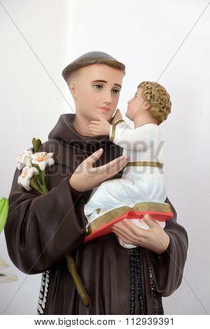LIPIK, CROATIA - MAY 07: Saint Anthony of Padua holding baby Jesus, statue in the Church of Saint Francis of Assisi in Lipik, Croatia on May 07, 2015