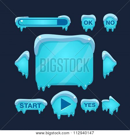 Cartoon Vector Winter Game User Interface